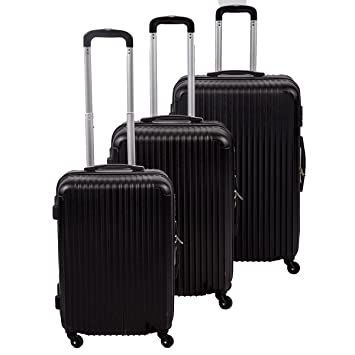 Amazon.com: New Black 3 Pcs Luggage Travel Set Bag ABS Trolley ...