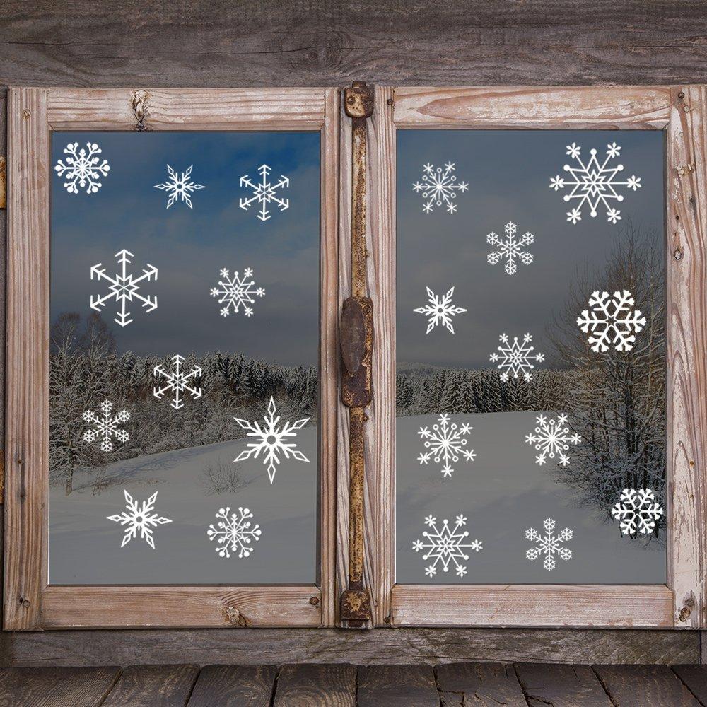 Kuuqa 4 pezzi Natale fiocchi di neve Adesivi in PVC Decorazione finestra di Natale Adesivi decalcomania Articoli per feste di Natale KQ368
