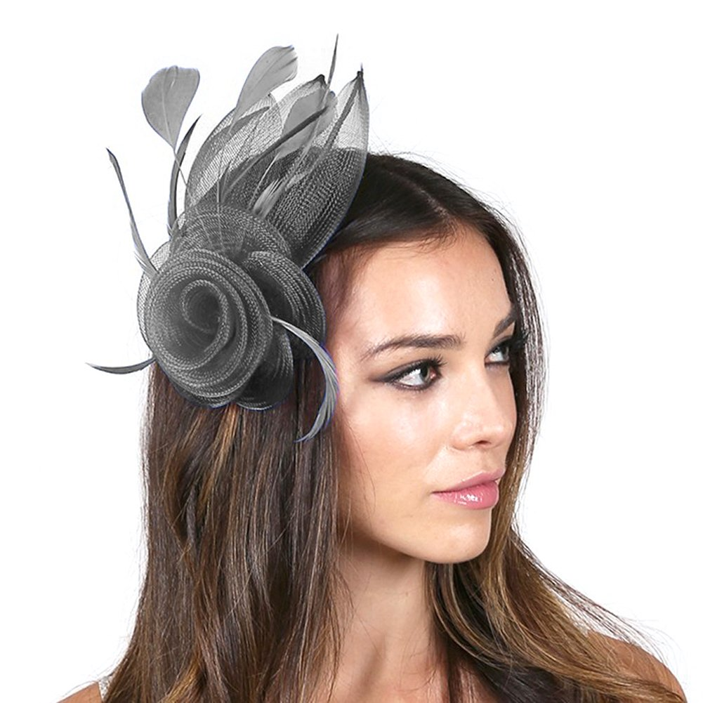 Fashion 21 Women's Feather & Mesh Flower Fascinator with Hair Pinch Clip and Head Band (Gray - A)