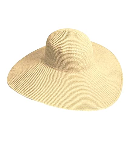 e44c901f36ca Amazon.com : Eforstore Hats Big Beautiful Solid Color Floppy Hat Womens  Wide Large Brim Folding Summer Sun Visor Straw Beach Cap : Clothing