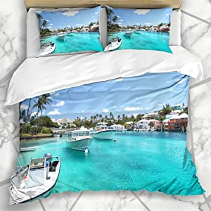 Ahawoso Duvet Cover Sets Queen/Full 90x90 Yacht Lagoon Travelling Environment Boats On Blue Resort Trip Water Transportation Nature Vacation Soft Microfiber Decorative Bedroom with 2 Pillow Shams