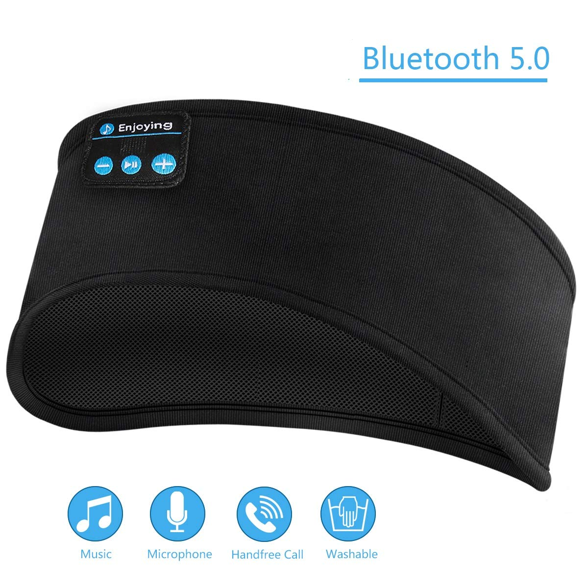 Sleep Headphones Bluetooth, SOONHUA Headband Wireless Headphones for Running with Built-in Microphone Ultra-Thin Speakers,Long Play Time,for Side Sleepers