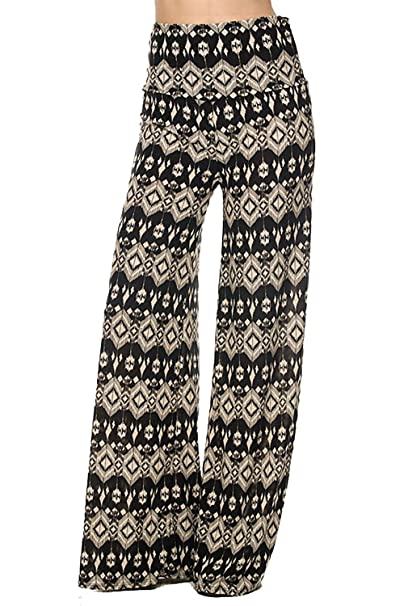 Amazon.com: Vina Vino Bohemian Print Extra Stretch Wide Leg ...