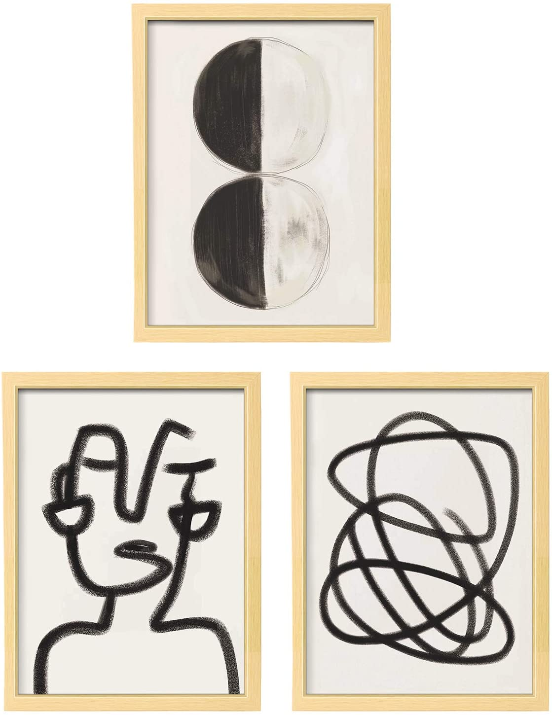 ArtbyHannah 3 Pack 12x16 Inch Framed Minimalist Line Abstract Wall Art Picture Frame Collage Set with Modern Decorative Poster Art Print Artwork for Home Bedroom Decoration