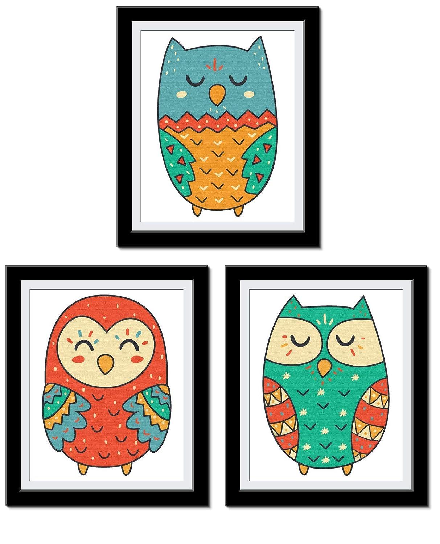 Owl Decor - Cute Owl Wall Art - Nursery Decor - Set of 3 Owls for Kids room Bedroom Toyroom Decorations - 8 x 10 UnFramed…