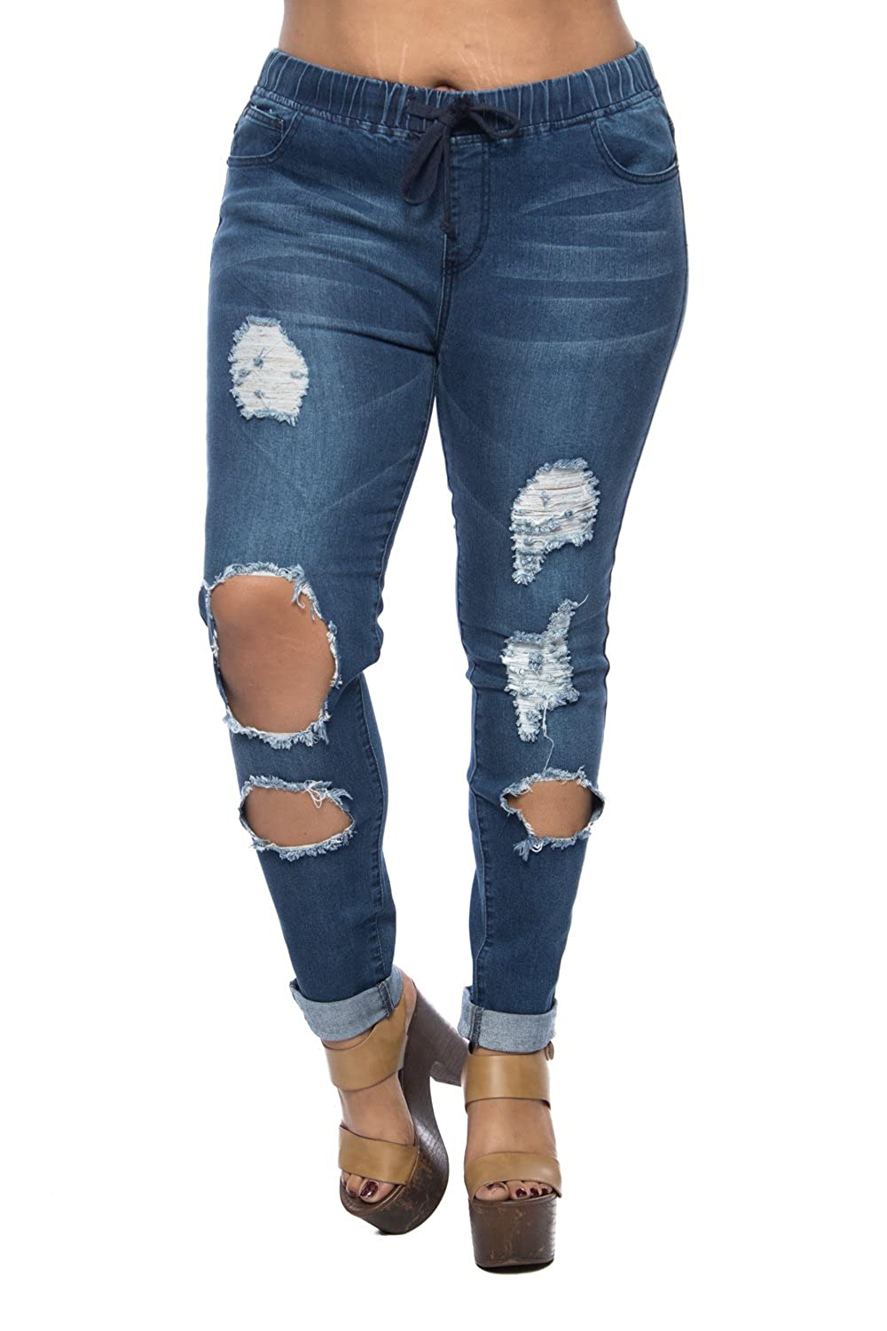 Womens Plus Ripped Washed Rolled Up Skinny Sexy Denim Jeans RJJ-428