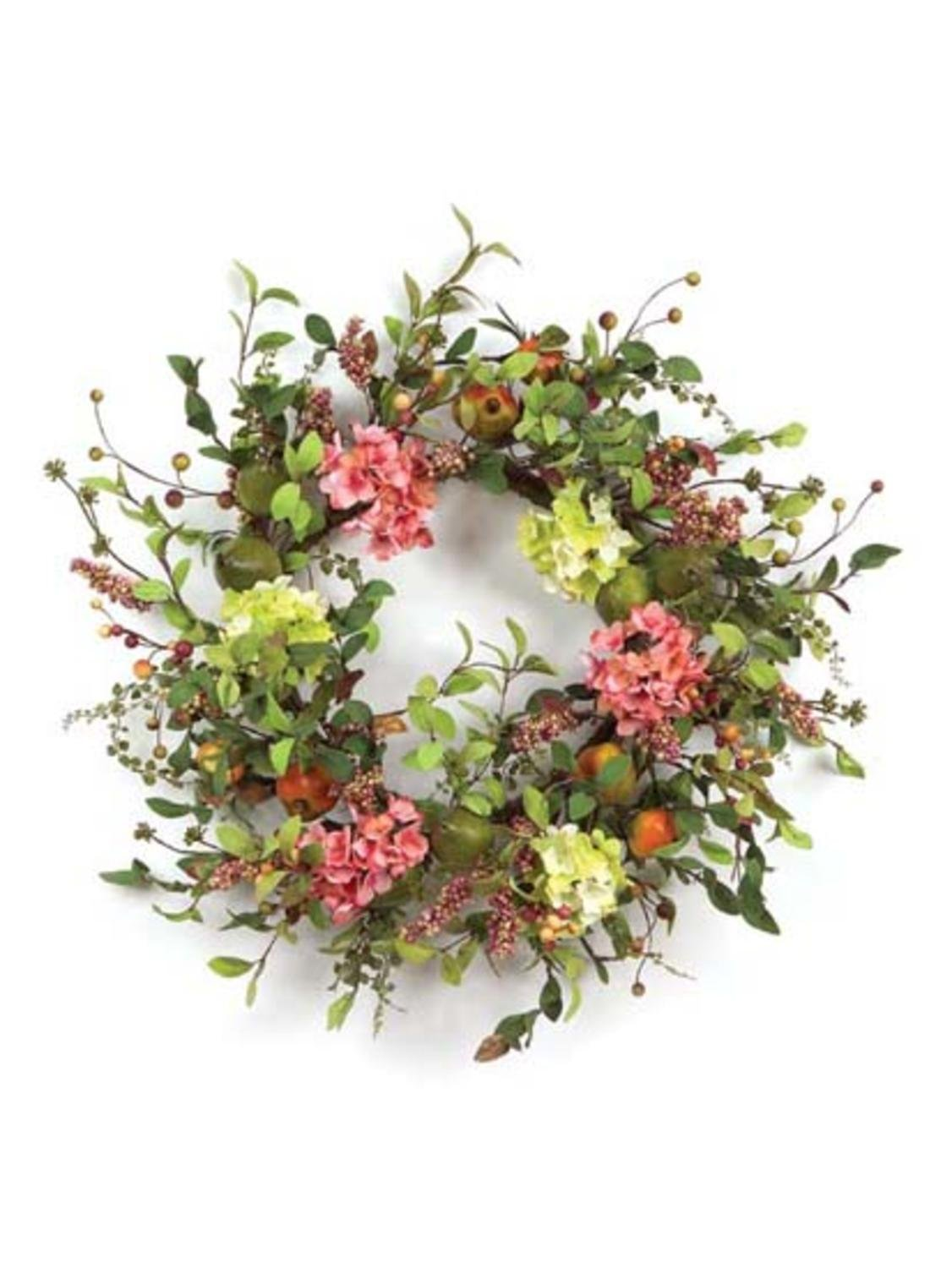 Pack of 2 Coral Blossom Artificial Pear, Hydrangea & Berry Floral Wreaths 26''