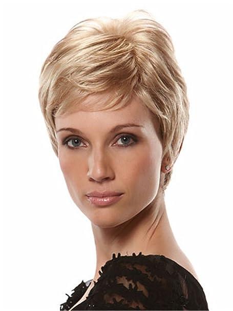 señoras de las mujeres rubia peluca corta peluca Madre