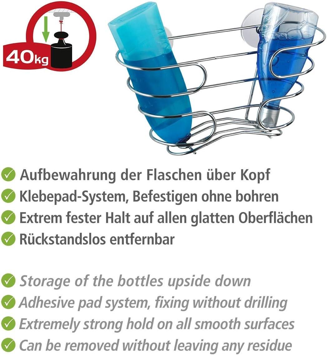 Gl/änzend 29.5 x 17 x 10 cm Befestigen ohne bohren Edelstahl rostfrei WENKO 21413100 Turbo-Loc Shampoo-Ablage