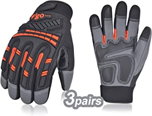 Vgo 3Pairs High Dexterity Water Repellent Goat Leather Heavy Duty Mechanic Glove,Rigger Glove,Anti-vibration,Anti-abrasion,Touchscreen (Size L,Orange,GA8954)