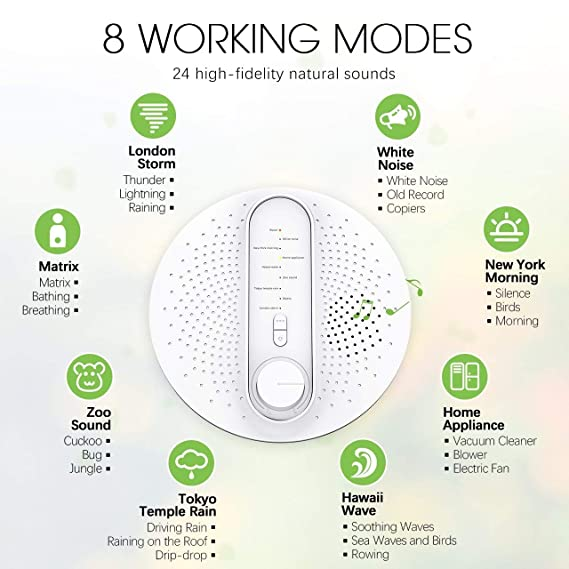 【Upgrated Version】Sleep White Noise Machine, OMORC 24 Soothing Natural  Sounds Therapy with 3 Timer Options, USB/Battery Powered, for Baby, Adults,