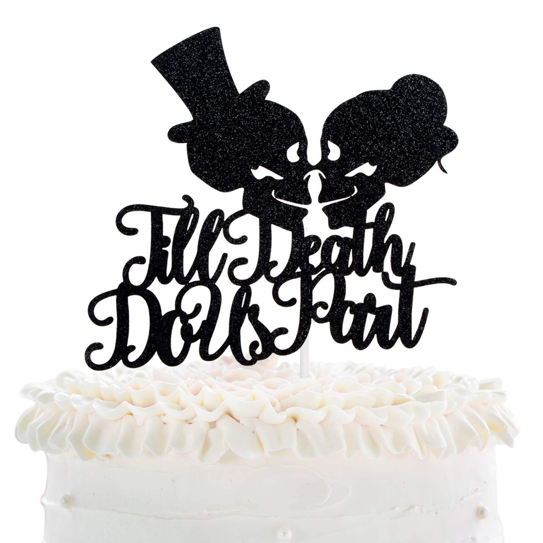 Till Death Do Us Part Wedding Cake Topper - Dia De Los Muertos Sugar Skull Cake Décor - Halloween Skeleton Day Of The Death - Gothic Mr Mrs Wedding Party Decoration