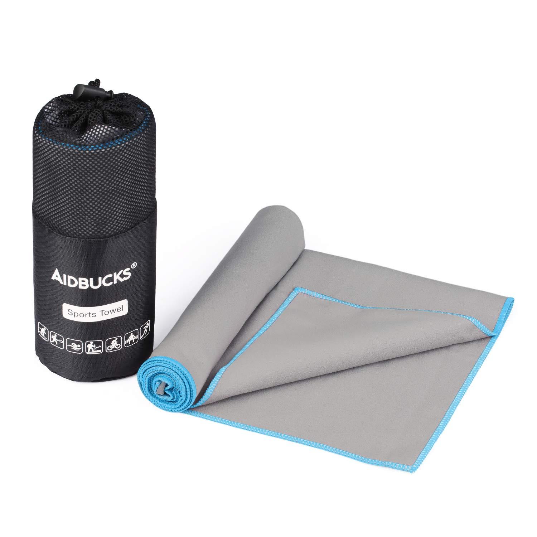 AIDBUCKS Absorbente Toalla Deportivas Secado Rápido Suave Microfibra Compacta Ligero Protección 80x40cm Gris Oscuro Piscina Viaje Camping Gimnasio Yoga con ...