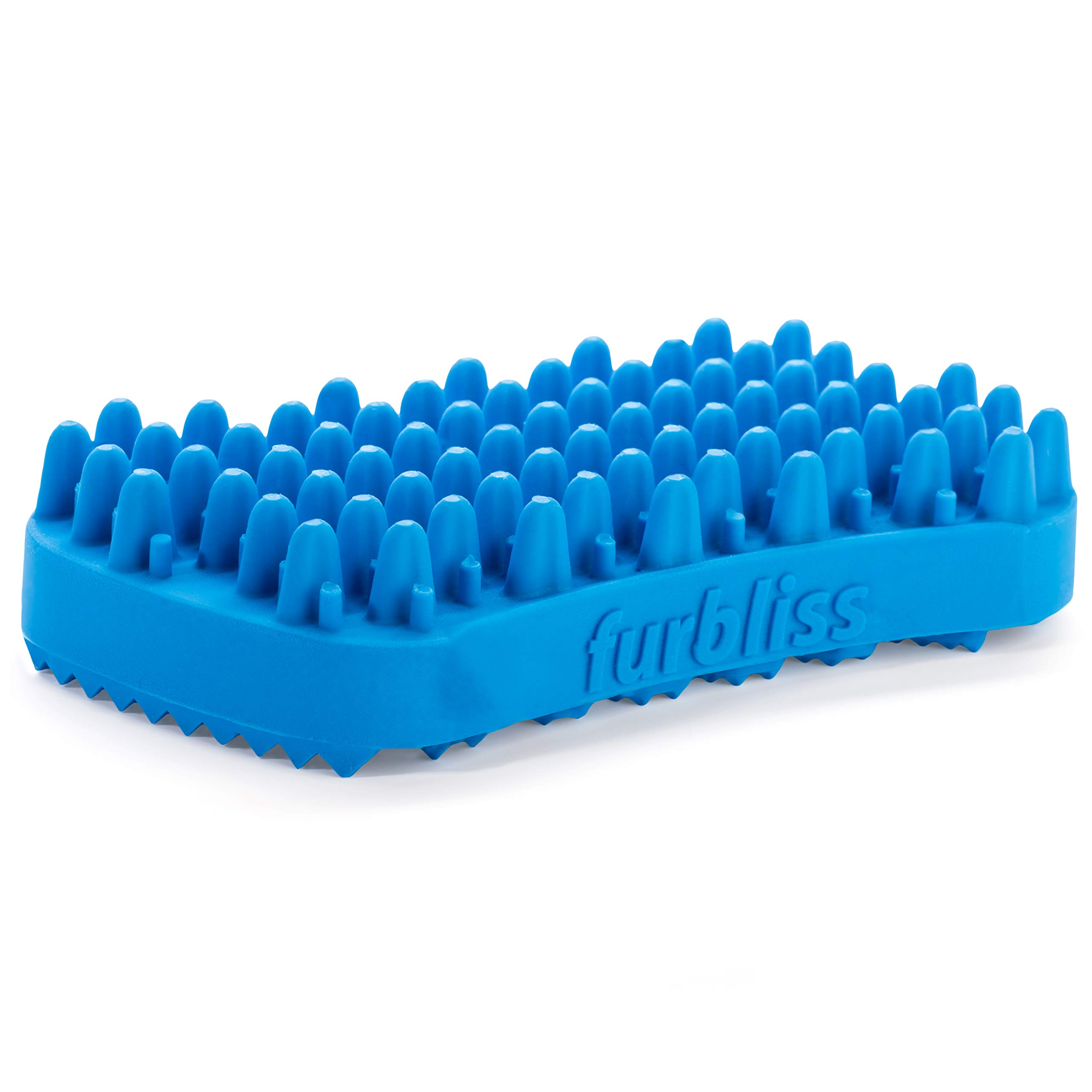 Furbliss Dog & Cat Brush for Small Pets with Short Hair Non Metal Grooming Bathing Massaging and Deshedding Silicone Brush - Blue