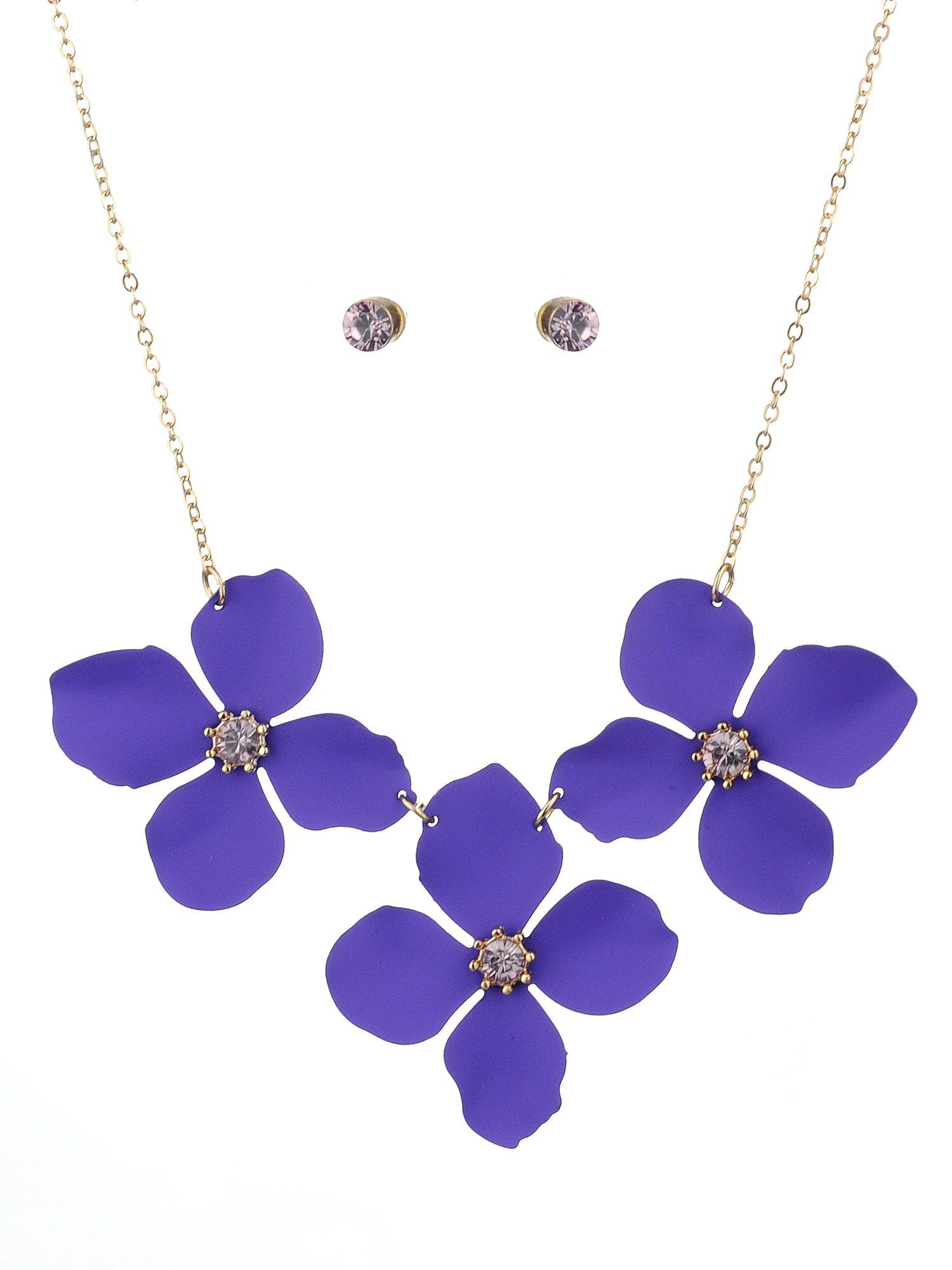 NYFASHION101 Women's Matte Flower Petal Necklace and Stud Earrings Set, Purple