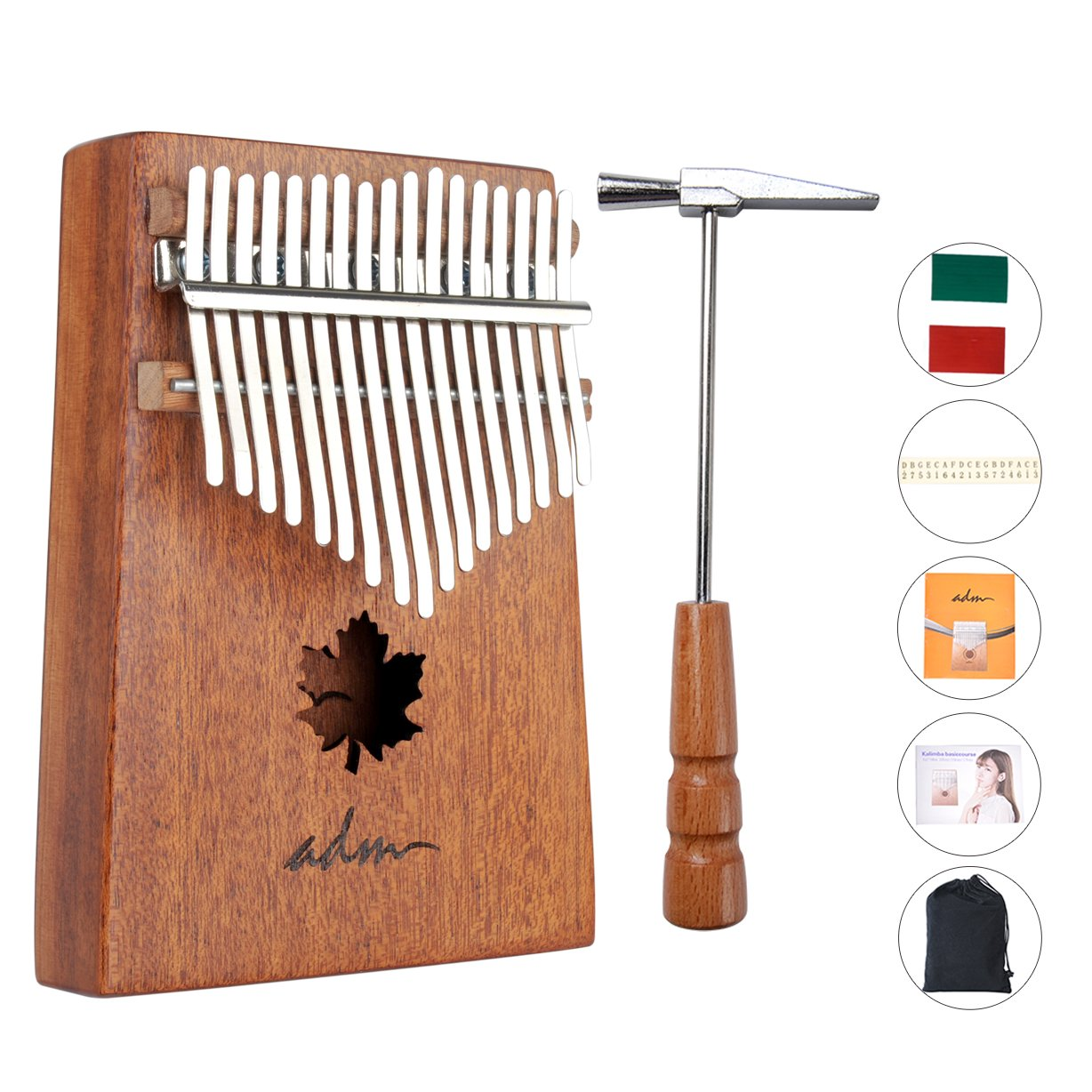 ADM Thumb Piano 17 keys Kalimba African Mahogany Mbira Maple Leaf Sound Hole with Music Book Tune Hammer and Bag by ADM (Image #1)