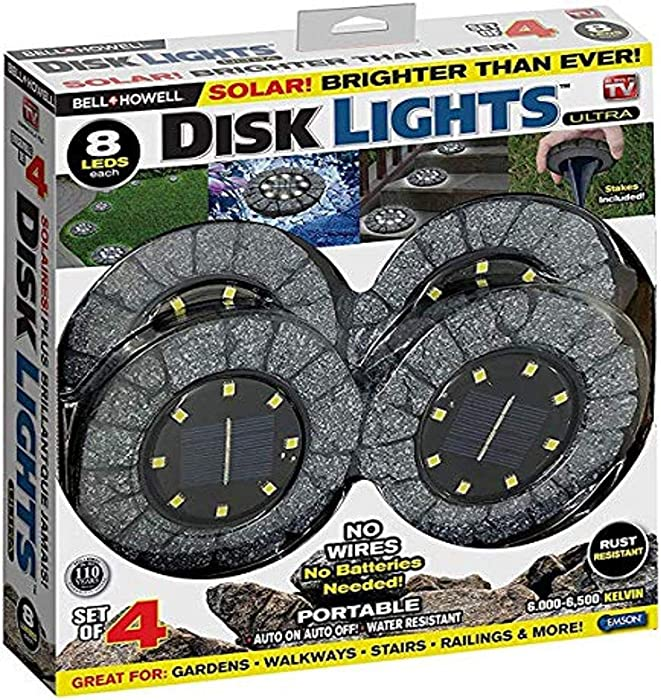 Bell+Howell Disk Lights Stone – Heavy Duty Outdoor Solar Pathway Lights – 8 LED, Auto On/Off, Water Resistant, with Included Stakes, for Garden, Yard, Patio and Lawn -As Seen on TV