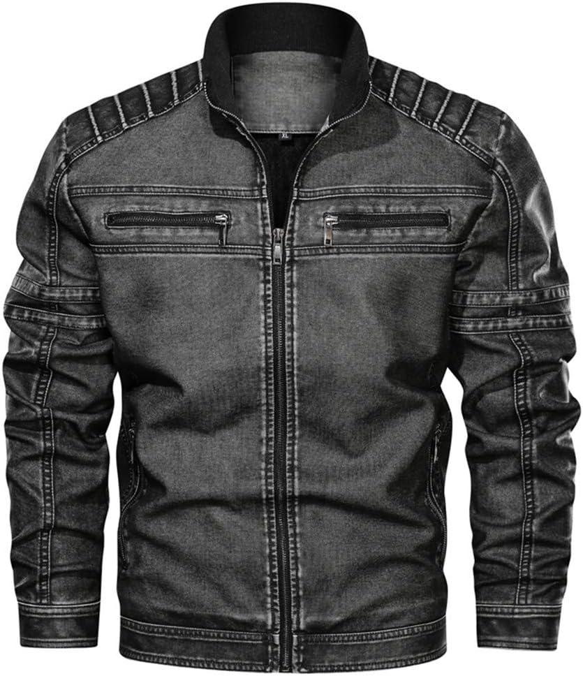 ZODOF Jacket Chaqueta de Cuero de Cuello Alto sin Sombrero Vintage para Hombre Chaqueta Suelta Chaquetas Hombre de Invierno Abrigo De Invierno,Gris oscuro