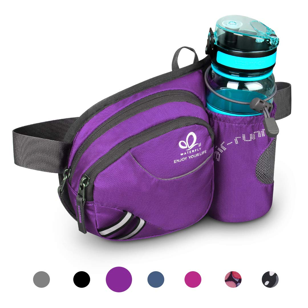 Waterfly Hiking Waist Bag Fanny Pack with Water Bottle Holder for Men Women Running & Dog Walking Can Hold iPhone8 Plus Screen Size 6.5inch (Purple) by Waterfly