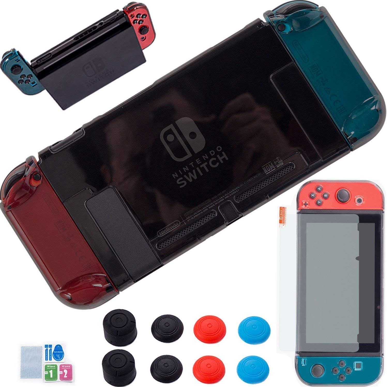 YOOWA - Funda para Nintendo Switch 3 en 1 con Mando a Distancia para Nintendo Switch, Incluye 8 Tapas para el Pulgar, Protector de Pantalla para Nintendo Switch Negro Negro Clear: Amazon.es: Electrónica