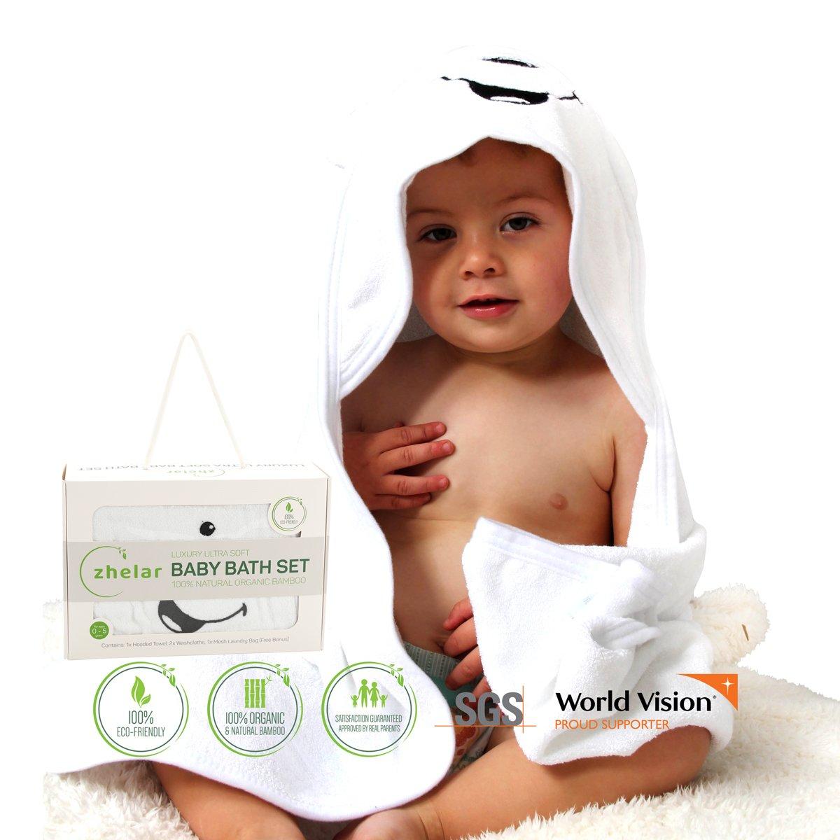 Luxury Bamboo Baby Bath Set | Hooded Towel with Ears & 2 Washcloths | Organic, Ultra Soft, Extra Large | Perfect Shower Gift for Newborn, Infant, Toddler | Bonus Laundry Bag | ZHELAR AllThingsTogether ZHL-PBBT-SET2GRN