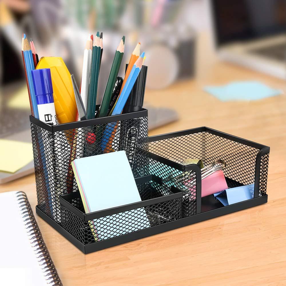 Powcan Portaoggetti da scrivania//Organizzatore di cancelleria//Scrivania ordinata//Riordinatore di Penne//Multifunzionale Organizzatore Desktop di Storage Contenitore Cremagliera Nero