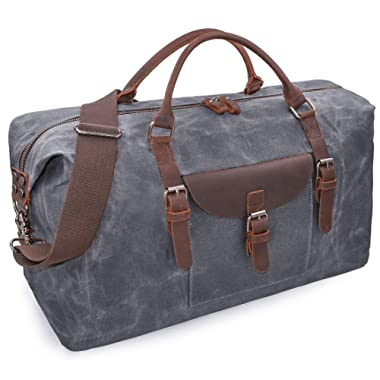 Oversized Travel Duffel Bag Waterproof Canvas Genuine Leather Weekend bag Weekender Overnight Carryon Hand Bag Gray