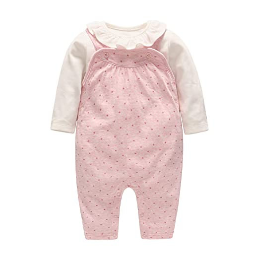 fbff7a2ec3e GLMTOU Newborn Baby Girls Clothes Set Cute Collar Little Star Infant Tops  Overall Pants Outfits Suits