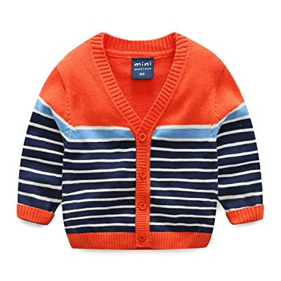 Baby Little Boys Kids Casual Knitted long sleeve Stripe V Neck Cardigan Cardigan Sweaters