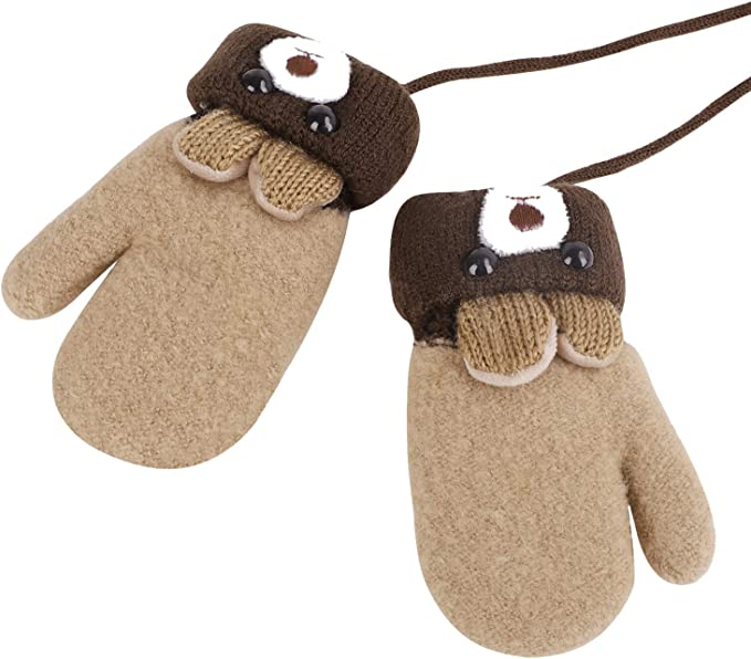 Kids Winter Warm Gloves Double Mittens Plush Winter Gloves with Anti Lost Rope