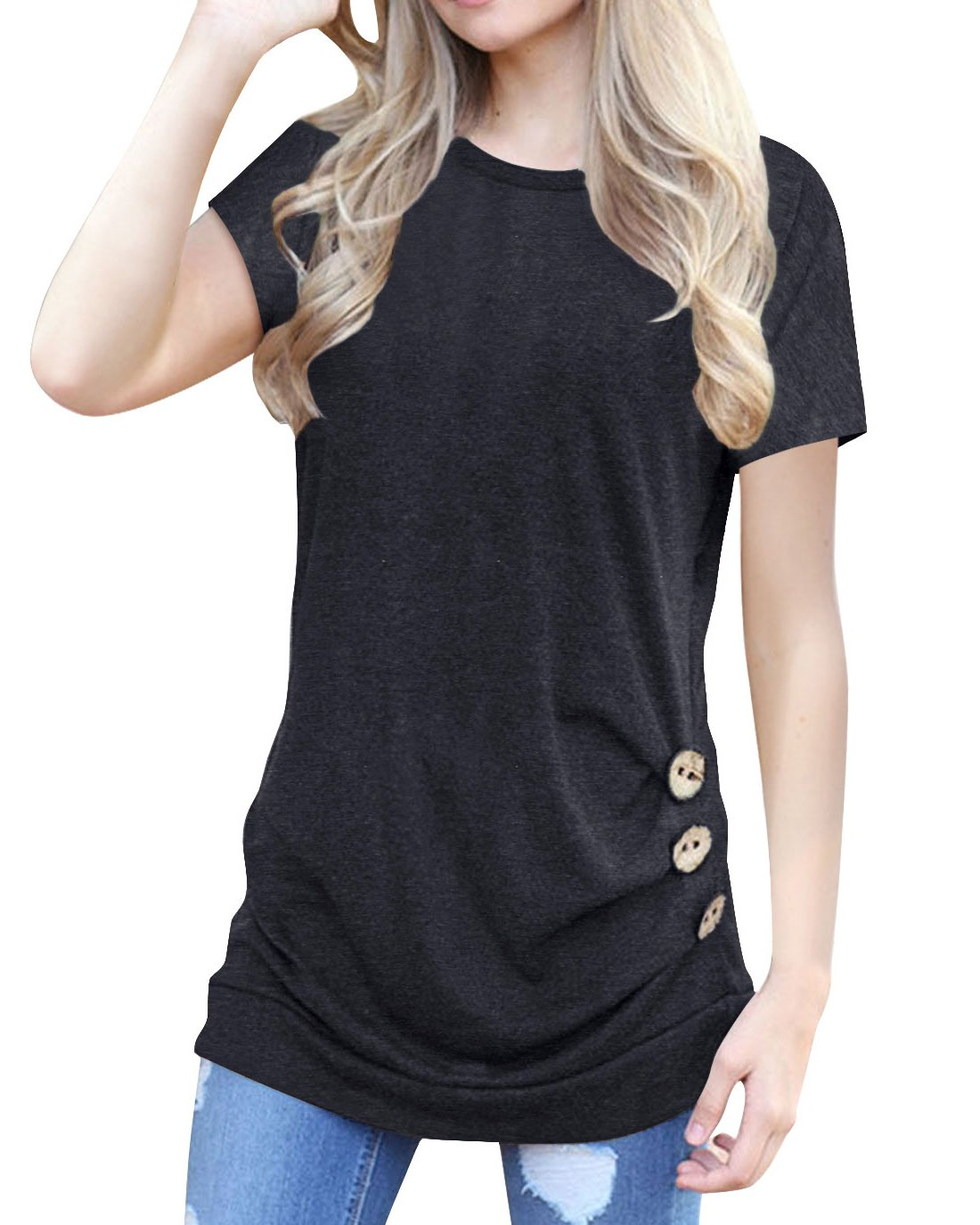 Women's Casual Short Sleeve Tunic Top Sweatshirt Blouse Button Decor T-Shirt Black L