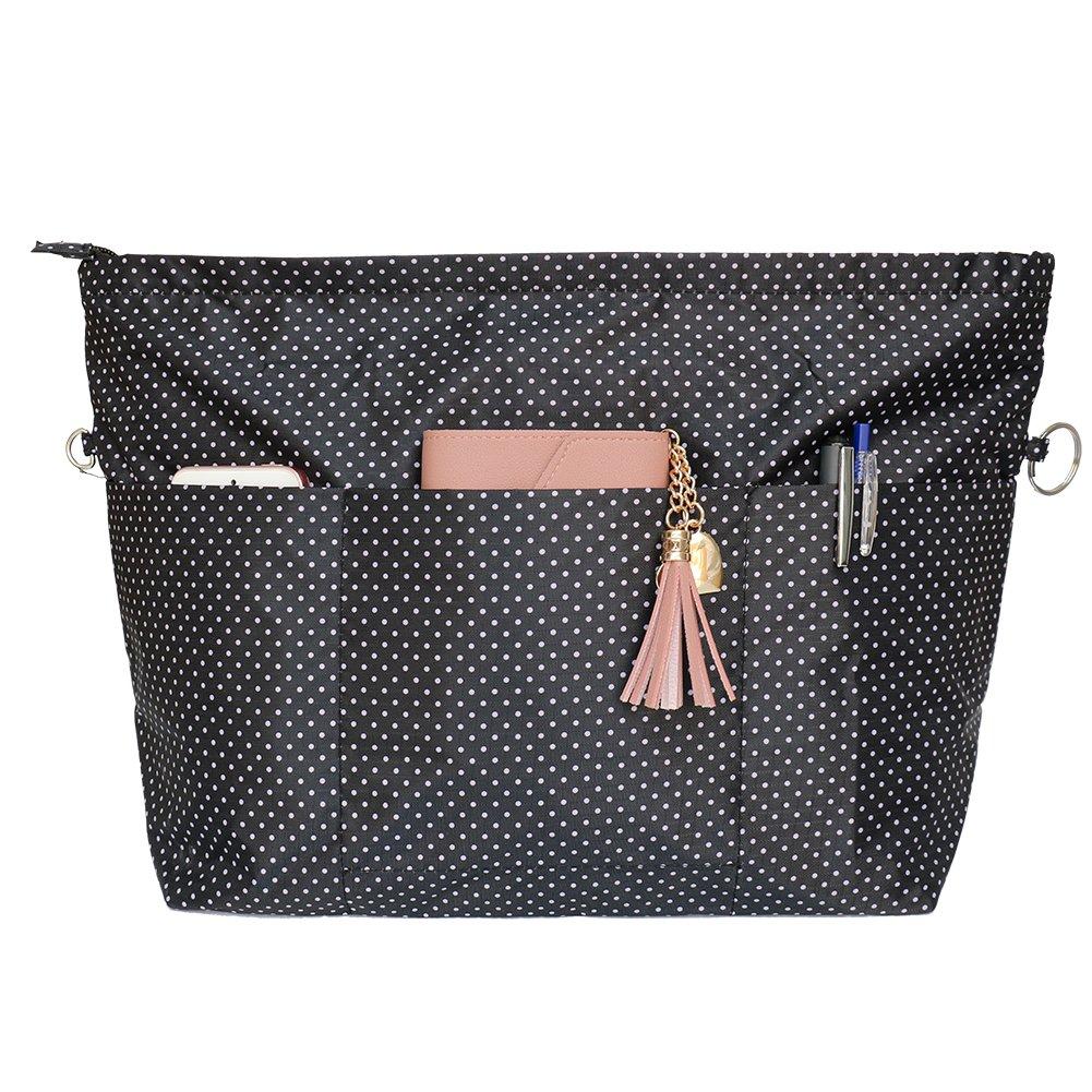 VANCORE Tote Bag Organizer Insert With Zipper Large Capacity 11 Pockets Black Dot Higher