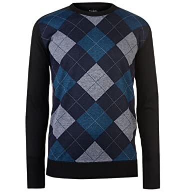 4db3a12ff69f50 Pierre Cardin Mens New Season Argyle Knitted Jumper Crew Neck V Neck and Quarter  Zip (Small, Navy/Ink/Grey): Amazon.co.uk: Clothing