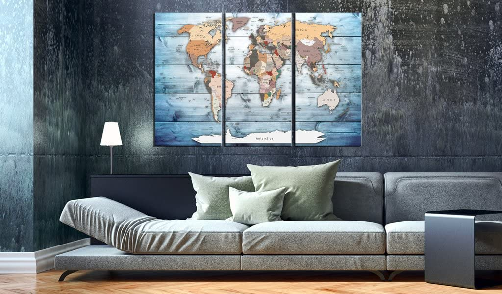 WALL ART PRINT 3 PIECES world map wood k-C-0035-b-g murando IMAGE 120x80 cm 3 COLOURS TO CHOOSE IMAGE PRINTED ON CANVAS PHOTO PICTURE