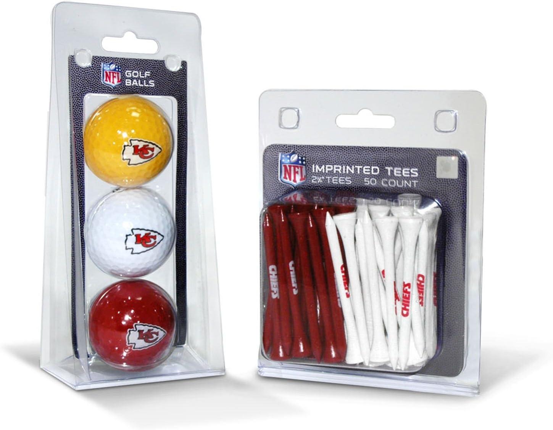 "Team Golf NFL Kansas City Chiefs Logo Imprinted Golf Balls (3 Count) & 2-3/4"" Regulation Golf Tees (50 Count), Multi Colored : Sports Fan Golf Balls : Sports & Outdoors"