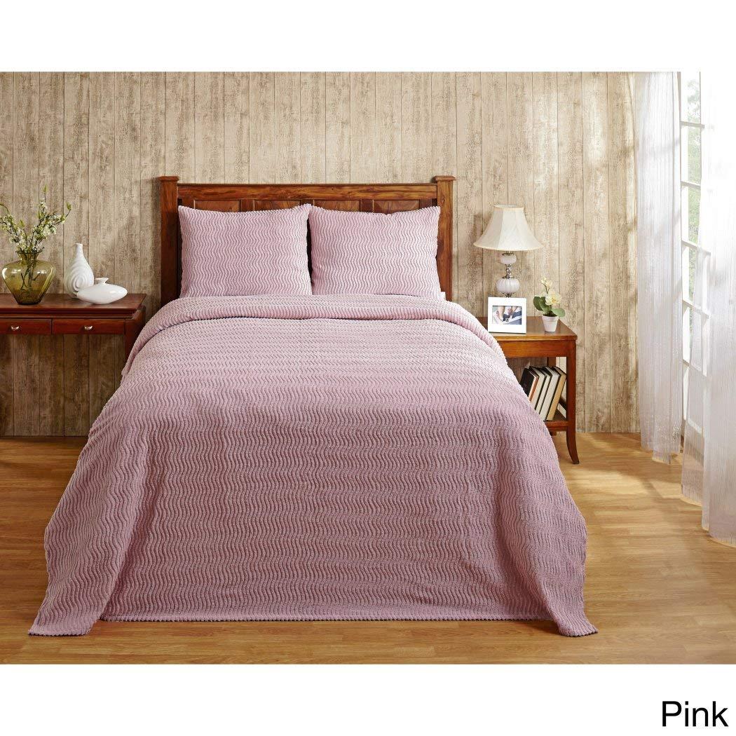 1pc 81 x 110オーバーサイズピンクシェニール織Bedspreadツイン、ドレープ床寝具軽量テクスチャチャネルストライプデザイン夏クラシックDrapes OverエッジHangs Down Sides B07341FXL5