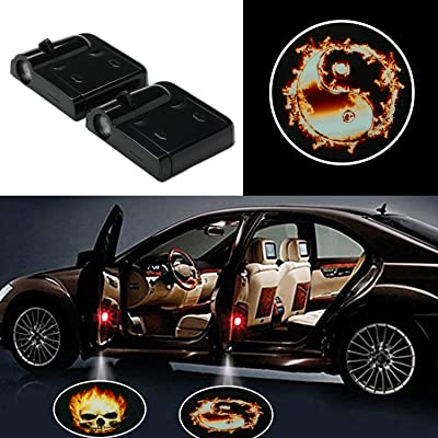 2pcs Universal Wireless LED Laser Projector Magnetic Sensor Car Door Lamp Shadow Light Accessories Powered by Battery No Drilling Required: Automotive
