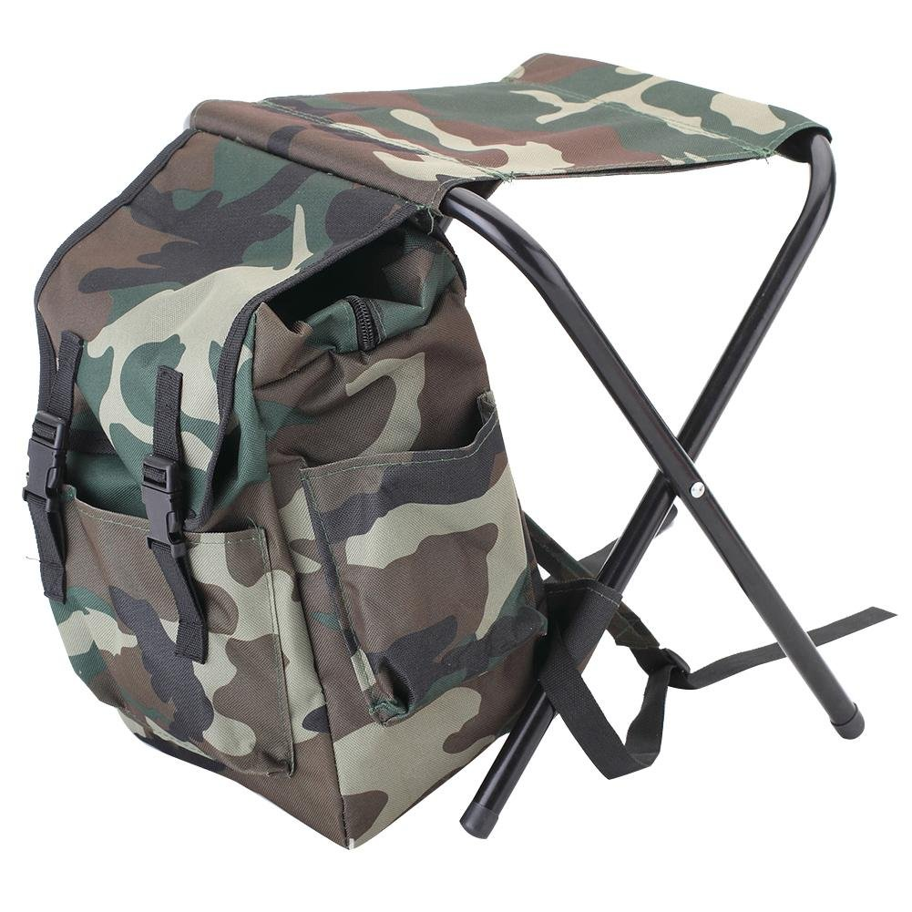 Greencolorful Fishing Backpack Chair,Portable Folding Backpack Cooler Chair,Camouflage Climbing Camping Stool with Insulated Picnic Bag/Rucksack Seat Bag for Hiking,Travel,Beach, BBQ by Greencolorful