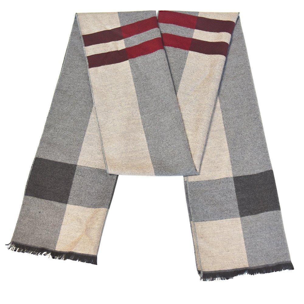 Scarf For Men Winter Warm Knit Scarfs Men's Stylish Muffler 100% Soft Cotton Fashion Brushed Scarf (Beige Plaid)