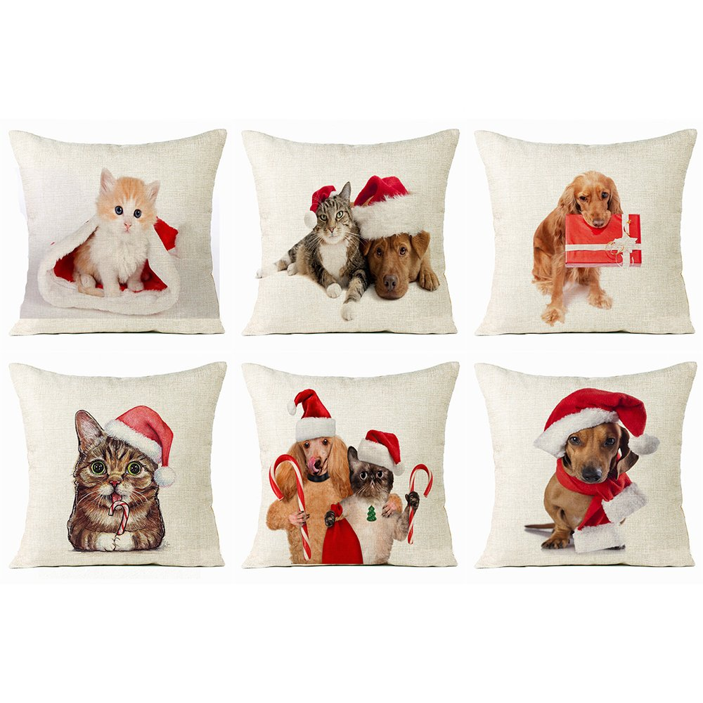 Christmas Pillow Covers 6 Pack, Merry Christmas Animal Decorative Sofa Throw Pillow Case Cushion Covers 18 X 18 Inch, Cotton Linen