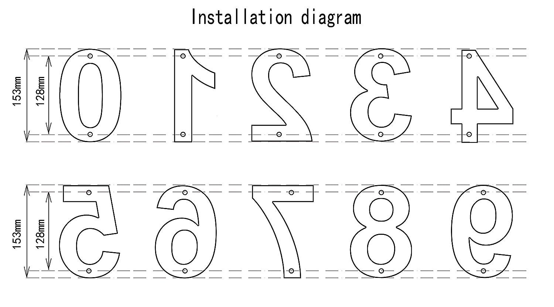 Geb/ürsteter Edelstahl Schwimmendes Aussehen Einfache Installation(Buchstabe a) nanly Moderne Hausnummer aus massivem hergestellt 304-GRO/ß 15.3 Zentimeter //6 Zoll