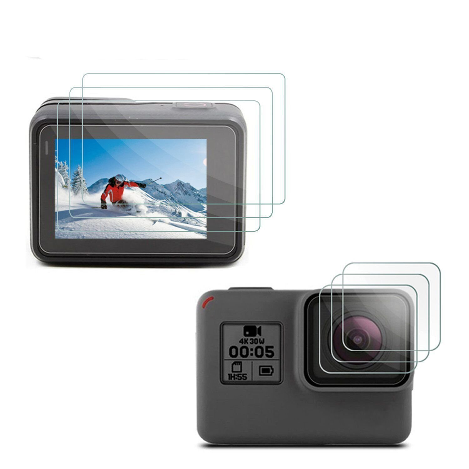 [3pcs] Deyard LCD Display Screen Protector & Lens Protector for GoPro Hero