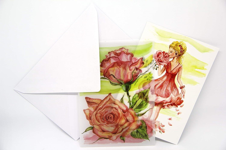 3 Karten mit Transparentpapier umschlossen Wildrosenm/ädch und Lavendelfrau im Lavendelfeld Kunstkartenset Edelrosendame