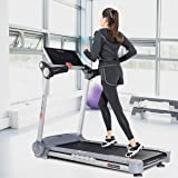 Goplus 2.05HP Folding Electric Treadmill Portable Jogging Running Fitness Machine for Home and Gym Heavy Duty Incline Treadmill W/LCD Display and Shock-Absorption System