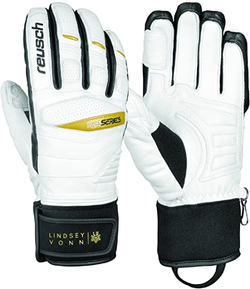 Amazon Com Reusch Snowsports Women S Lindsey Vonn Signature Ski Gloves Medium White Black Clothing