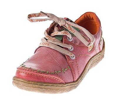 dc2a09f4b86c98 Damen Leder Halb Schuhe Comfort Sneakers Rot Used Look TMA Eyes 1646  Schnürer Turnschuhe Gr.