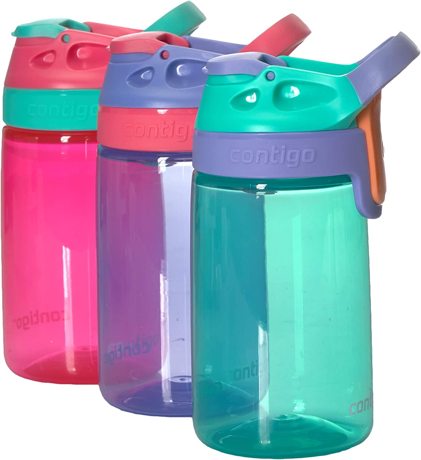 Amazon Com Contigo Kids Autoseal Gizmo Water Bottles 14oz Sprinkles Wink Persian Green Sports Outdoors
