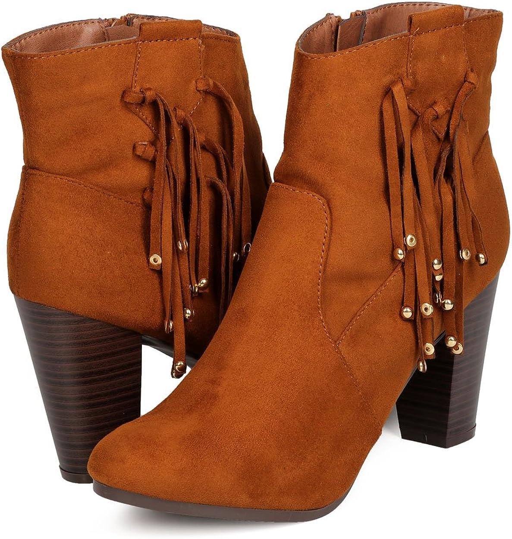 Breckelles Women Faux Suede Falling Fringe Chunky Heel Bootie GA90