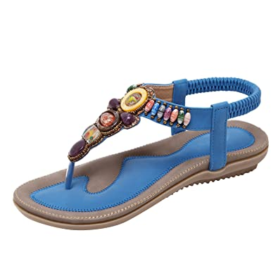 Dolamen Damen Sandalen Sommer Schuhe Bohemia Flach Strand Zehentrenner Strass Perle Clip Toe Flip Flops Elastische T-Strap Post Thong Sandalen Schuhe (EU 33(Asien 35, Fußlänge:221-225mm), Blau)