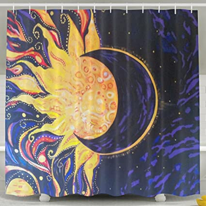 FVCXKM Personalized Shower Curtain Oil Painting Sun Moon Waterproof Polyester Bathroom